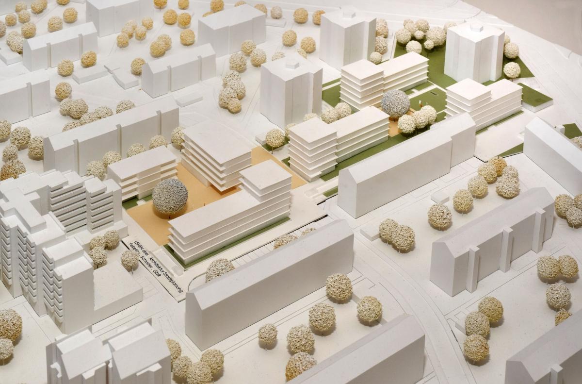Rintheimer Feld, Karlsruhe: Neubau 120 Wohnungen, Wettbewerb 2016, 1. Preis, Auftrag B-Plan, Hochbau