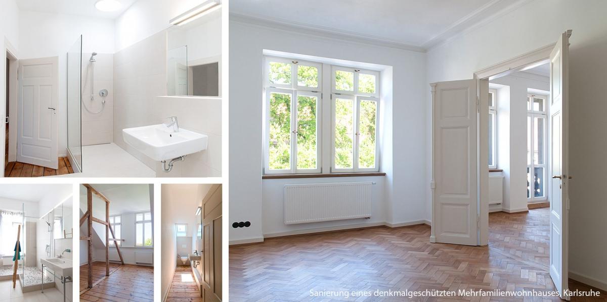 Sanierung eines denkmalgeschützten Mehrfamilienwohnhauses, Karlsruhe